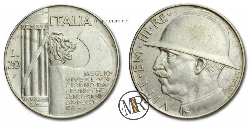 20 lire 1928 elmetto Argento