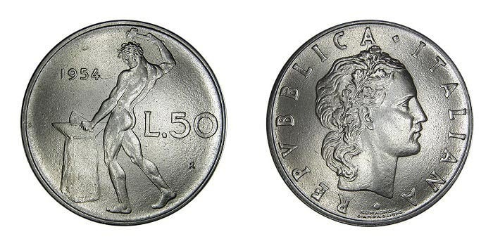 Rare Lire Coins For Numismatist Italian 50 Piece 1956