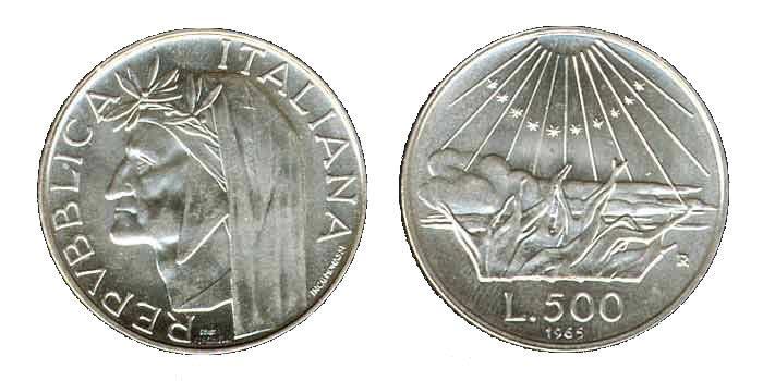 500 Lire Silver Coin with Dante Alighieri