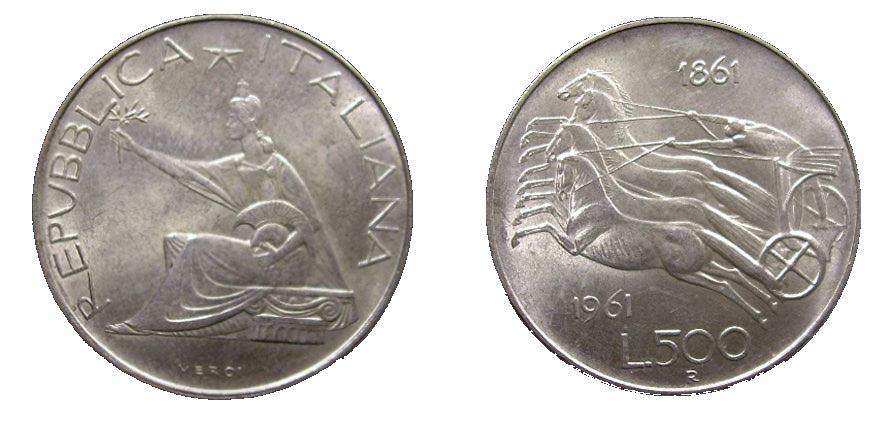 500 Lire Silver Coin 1861-1961