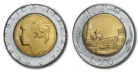 500 Lire Bimetallic Coin