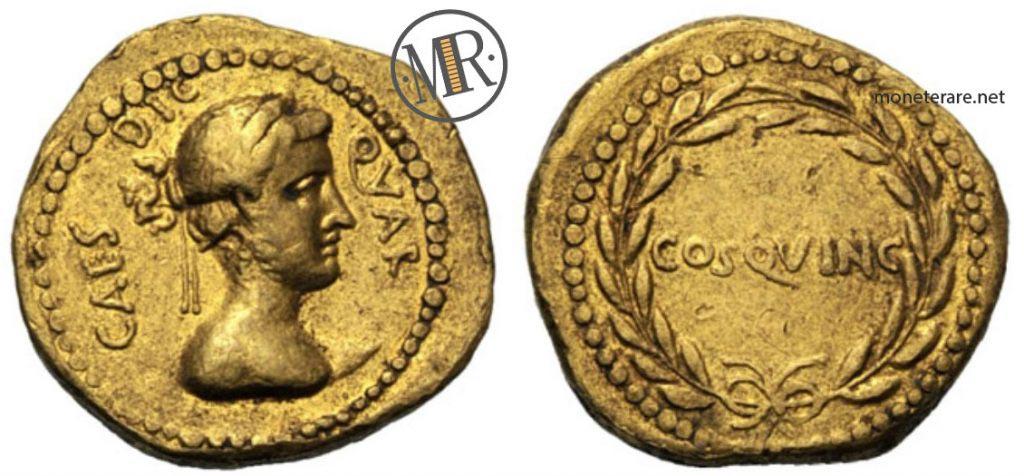 Una delle Monete Antiche della Repubblica Romana d'Oro