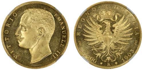 monete rare 100 Lire d'Oro del 1903