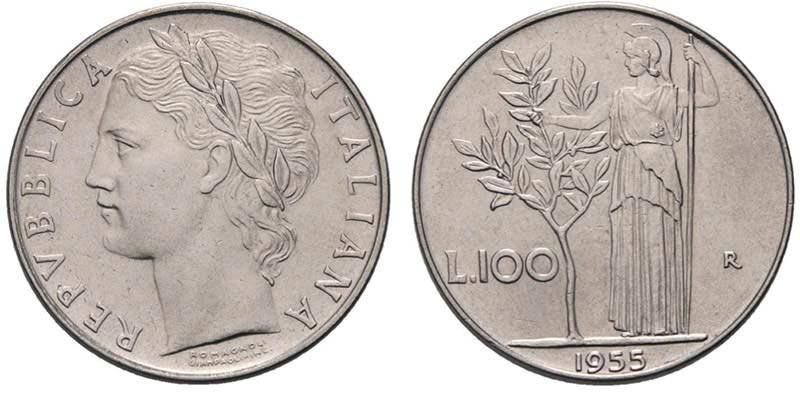 monete rare 100 lire 1955