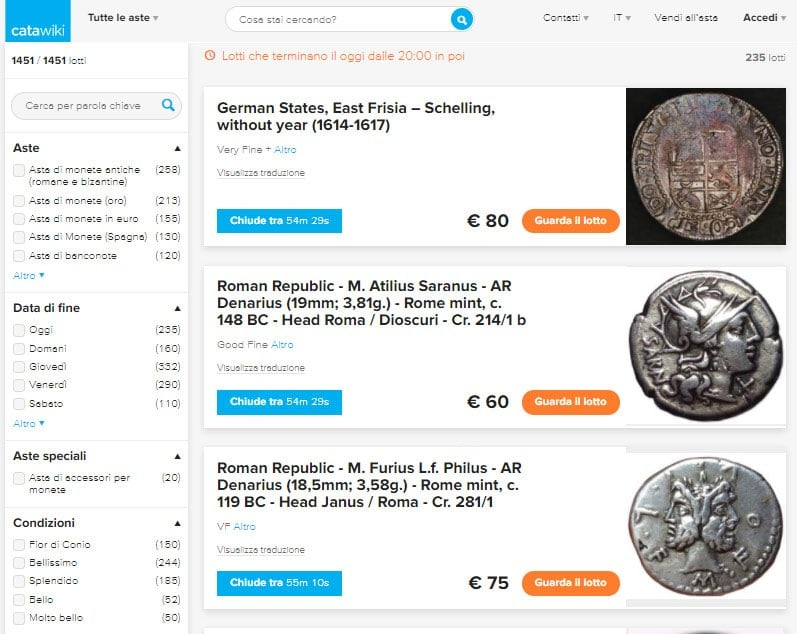 some example of coins at auction