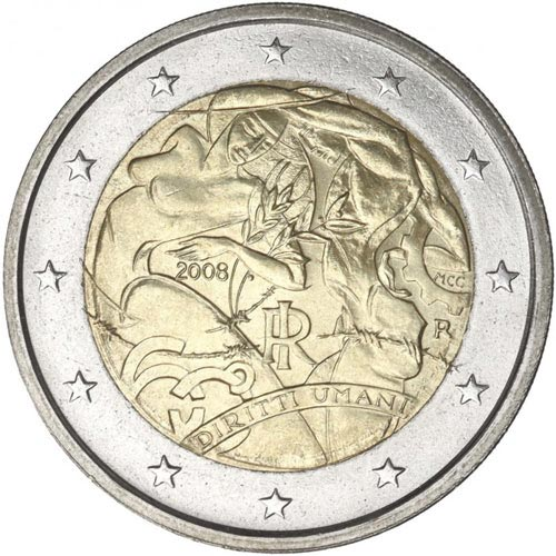 2 euro commemorative Italian 2008 Human Rights