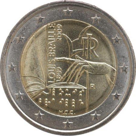 2 euro commemorativi Italiani 2009 Braille