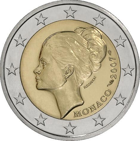 2 Euro Commemorative Coins Monaco 2007 with Grace Kelly