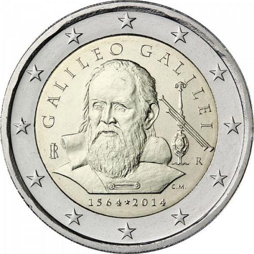 2 euro Italian commemorative coins with Galileo Galileo