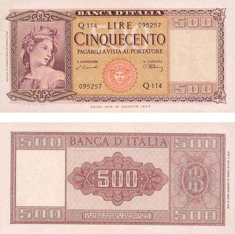 Banconota da 500 Lire del 1947