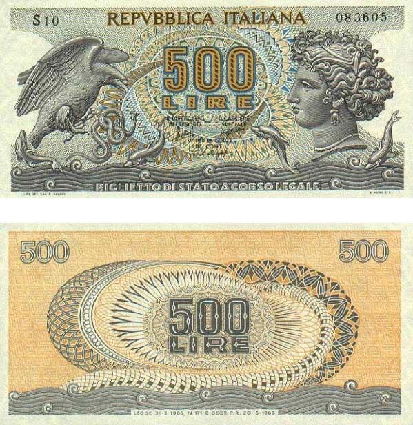 banconota 500 Lire Aretusa 1966