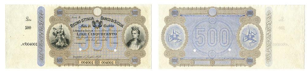 Fronte e Retro della rara banconota italiana 500 lire del banco di Sicilia 1876