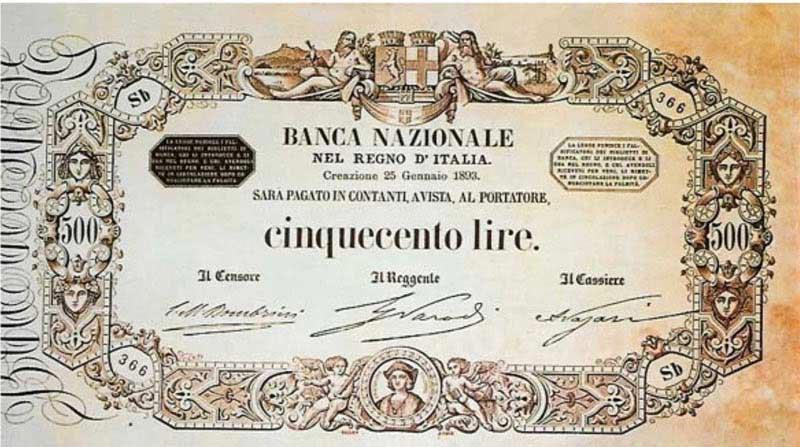 rara banconota da 500 lire di carta di Vittorio Emanuele II