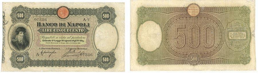 Banconota da 500 Lire 1903 con Leonardo da Vinci del banco di napoli