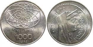 mille lire roma capitale 1970 argento
