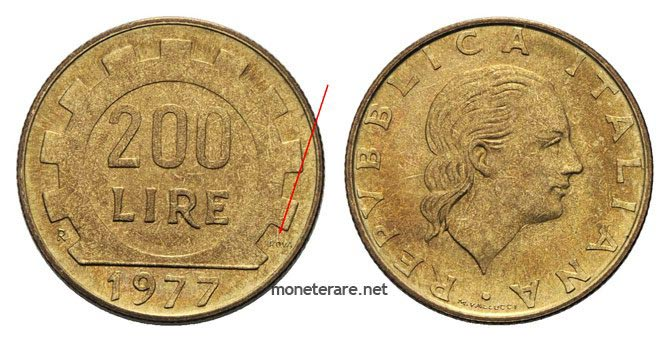 "rare 200 Lire Coins ""proof"" 1977"