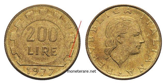 """200 lire rare """"prova"""" 1977"""