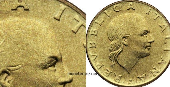 "200 Lire coin ""Peeled head"""