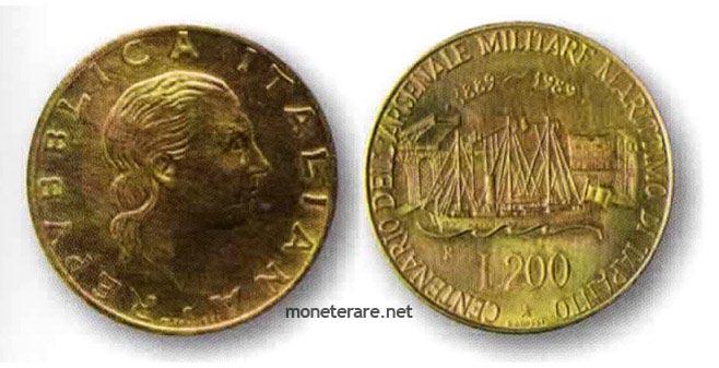 moneta da 200 Lire del 1989