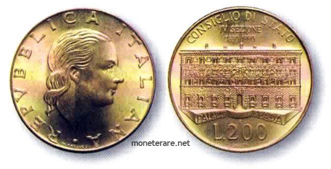 moneta da 200 Lire del 1990