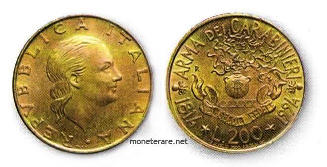 200 lire coins rare 1994