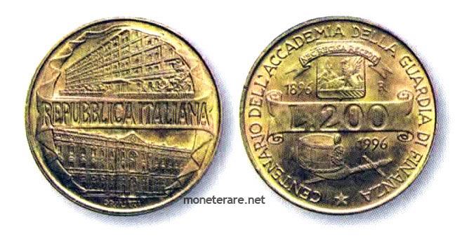 200 lire coins 1996