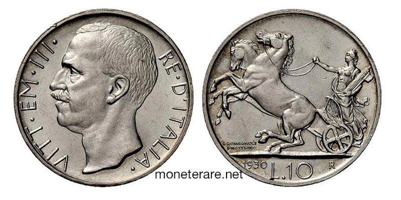 10 Lire rare Vittorio Emanuele III con la biga