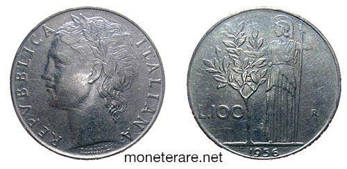 rare coins : italian 100 lire coin 1956