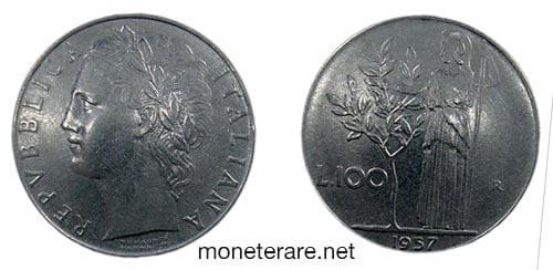 rare coins : italian 100 lire coin 1957