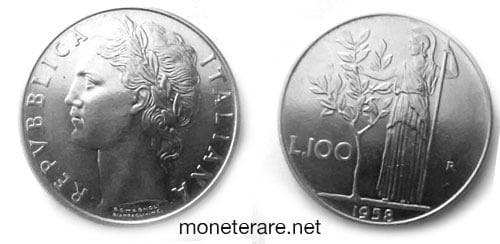 rare coins : italian 100 lire coin 1958
