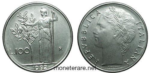 rare coins : small italian 100 lire coin 1992