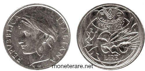 rare coins : italian 100 lire coin 1995 fao