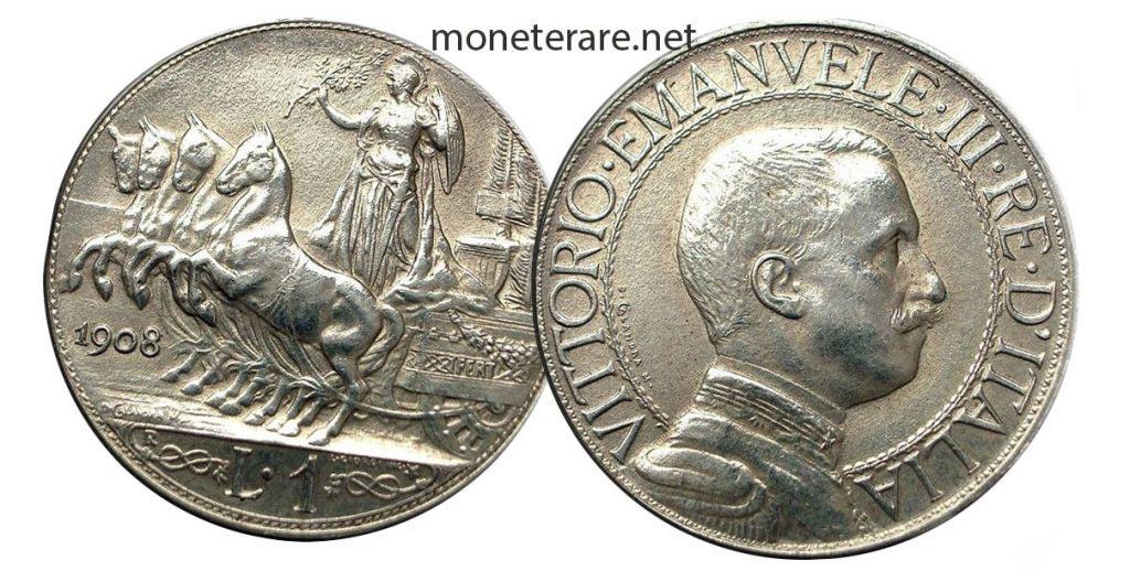 Moneta da Una Lira Quadriga Veloce 1908