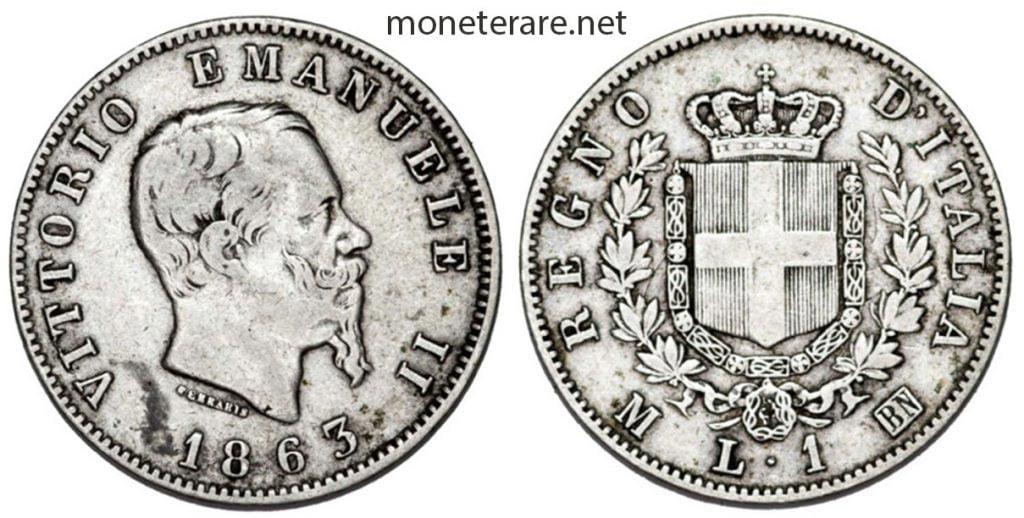 1 lira coin with Vittorio Emanuele II