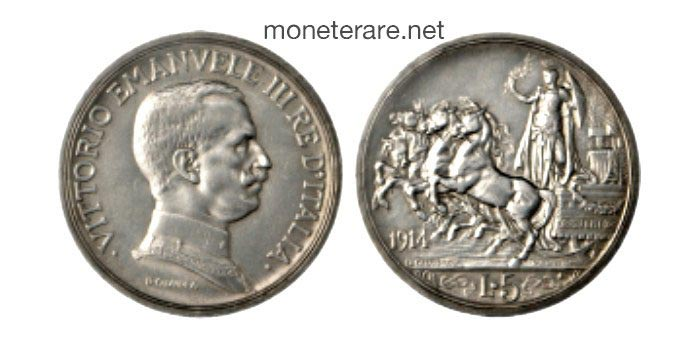 5 lire 1914 quadriga