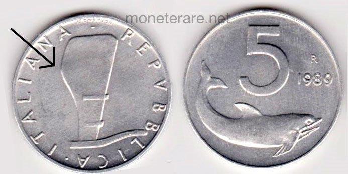 5 lire rare timone rovesciato