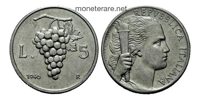 5 lire rare uva