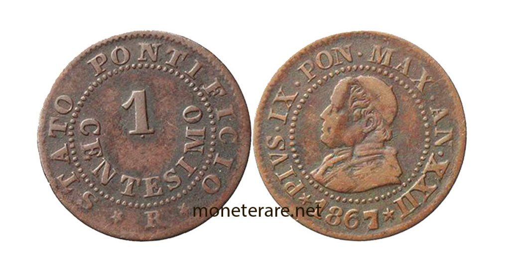 1 Lira Cent Coin of Pius IX