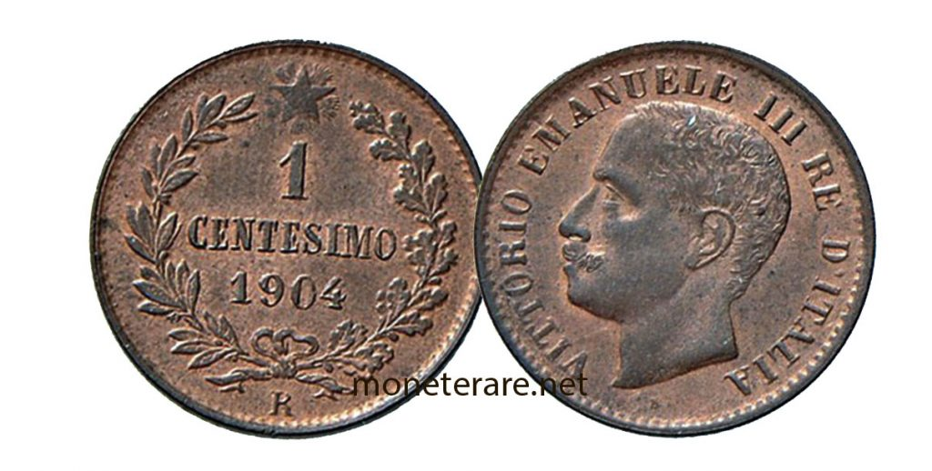1 lira cent coin of 1904 with vittorio emanuele