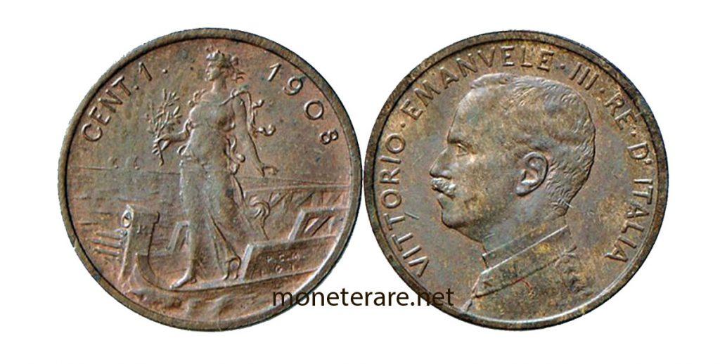 "1 lira cent coin with vittorio emanuele III ""Prora type"""