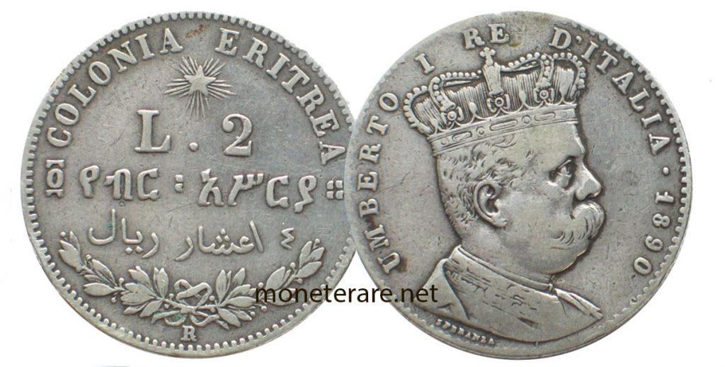 2 Lire Umberto I Eritrea
