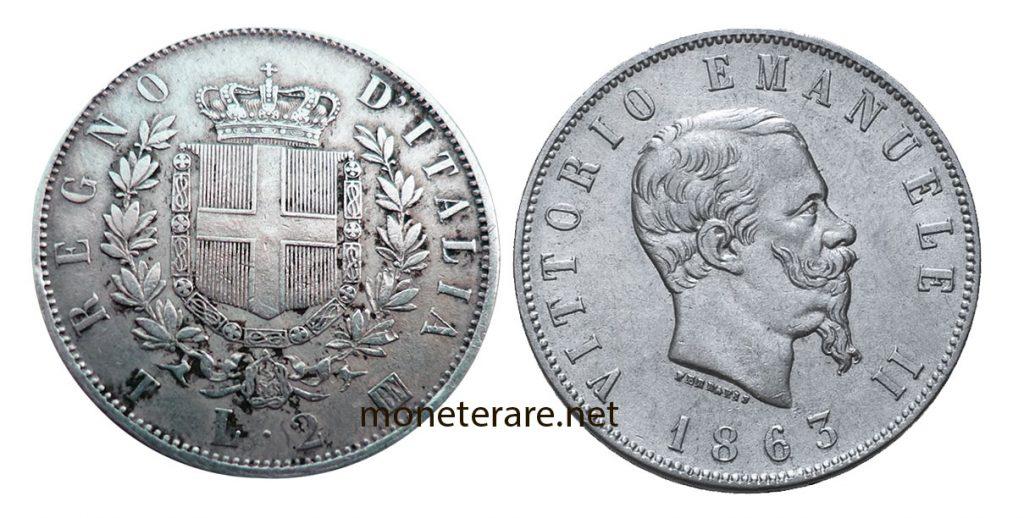 2 Lire Vittorio Emanuele II variante verso