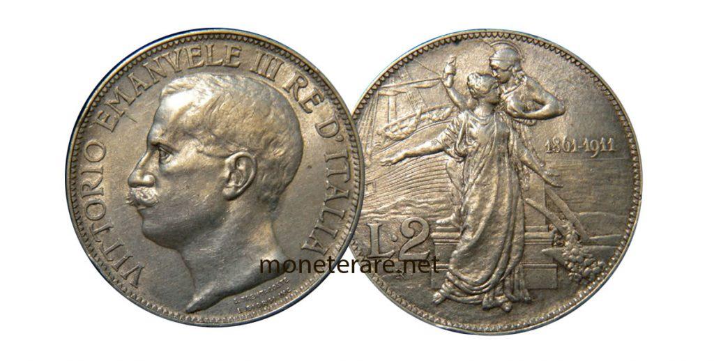 2 Lire Vittorio Emanuele III Cinquantenario