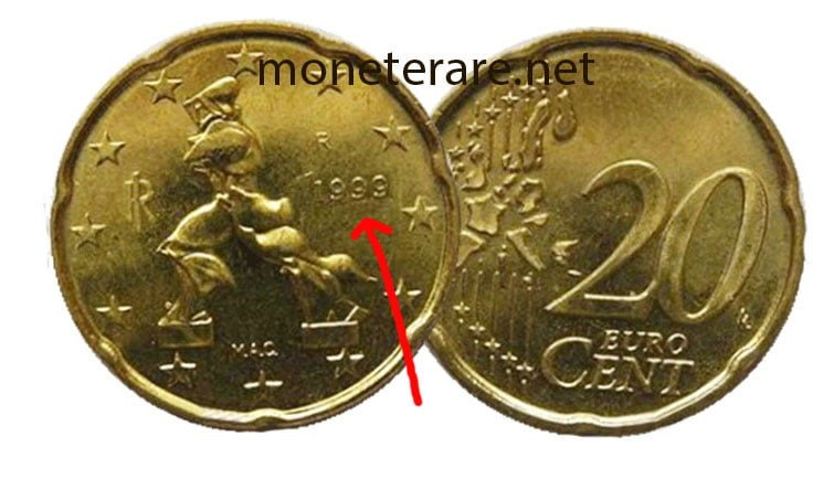 Rare 20 cent Euro coin year 1999