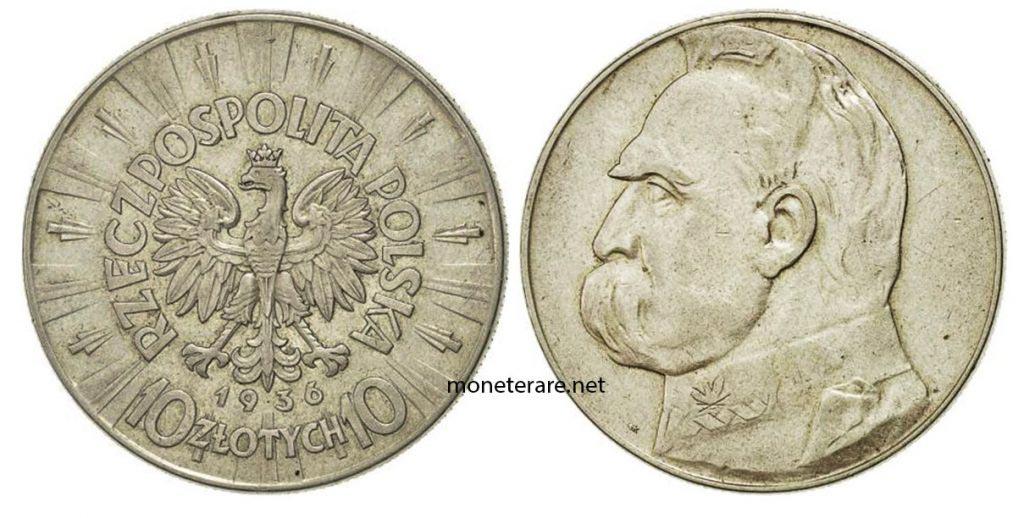 Moneta polacca da 10 Zlotych de 1936