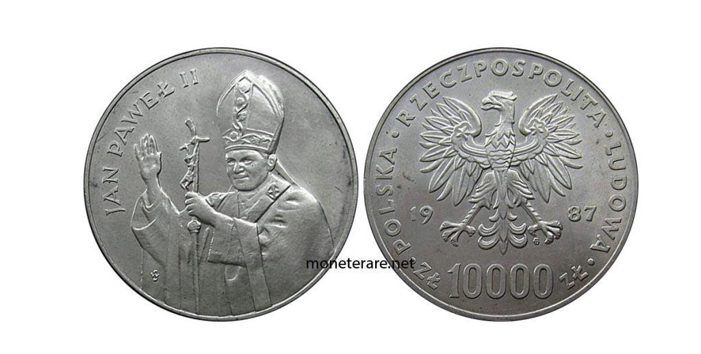 Moneta polacca con giovanni Paolo II da 10.000 Zlotych del 1987