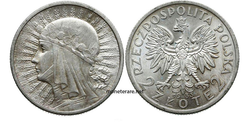 Moneta della polonia da 2 Zlote 1933