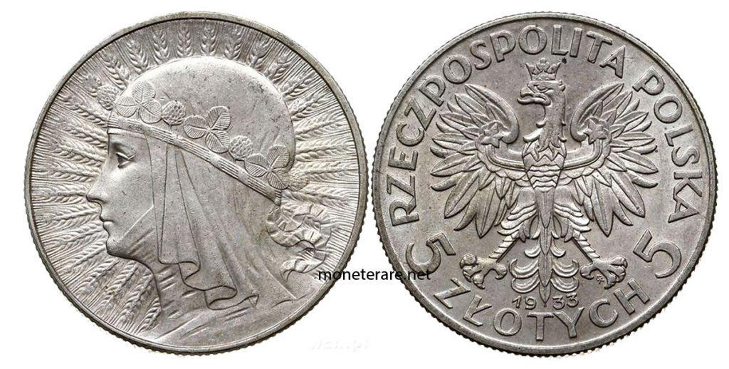 Moneta della Polonia da 5 Zlotych de 1933