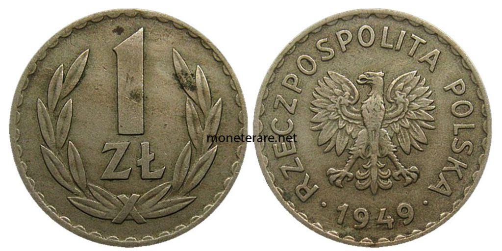 Valuta Polacca da 1 Zotly 1949