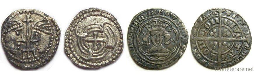 Esempi di monete medioevali inglesi in argento